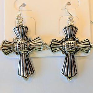 New Silver Tone Cross Dangle Earrings